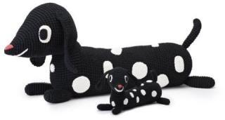 Littlephant Beanbag Dotty Dog, 100 % bomull, H80 cm, Svart, Littlephant