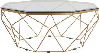 MERANO sofabord Ø 98 cm Messing/glass