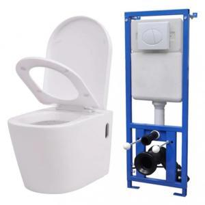 Vegghengt toalett med skjult sisterne - hvit