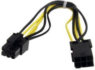 StarTech 8in 6 pin PCI Express Power Extension Cable - Strømforlengelseskabel - 6-pins PCIe-strøm (hann) til 6-pins PCIe-strøm (hunn) - 20 cm - svart (PCIEPOWEXT)