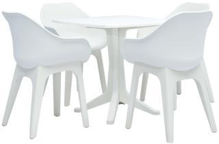 vidaXL Utendørs spisestue 5 deler plast hvit