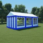 vidaXL Hagetelt PVC 3x6 m blå og hvit