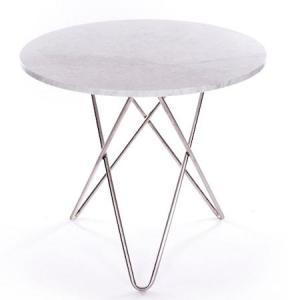 OX DENMARQ Dining O-table - Hvit marmor, krom understell