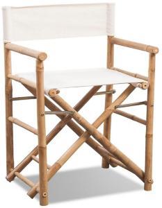 Regissørstol 2 stk bambus og lerret sammenleggbar -