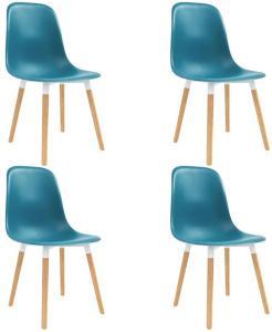 Spisestoler 4 stk turkis plast - Blå
