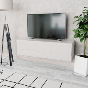 vidaXL TV-benk sponplater 120x40x34 cm hvit høyglans