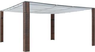vidaXL Paviljong med tak polyrotting 400x400x200cm brun og kremhvit