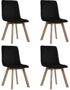 vidaXL Spisestoler 4 stk svart fløyel