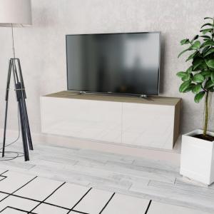 vidaXL TV-benk sponplater 120x40x34 cm hvit høyglans og eik