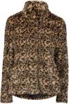 Saint Tropez Fuskepels Faux Fur Leopard Jacket Women Sand