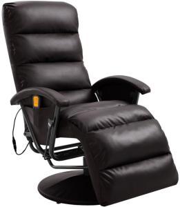 vidaXL Massasjestol brun kunstig skinn
