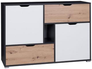 Iwa Kommode 40x132 cm - Grafitt/Hvit/Eik