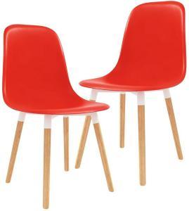 Spisestoler 2 stk rød plast - Rød