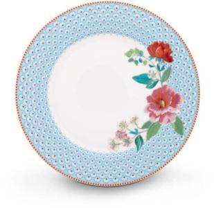 Tallerken middag 26,5cm. Rose Blå Pip porselen