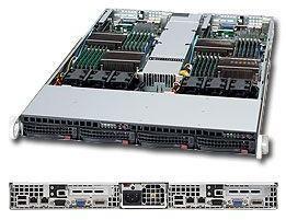 SUPERMICRO 1U TWIN RM BLK XEON-DP 800MHZ 4XSATA 1200W PCIE16 96GB DDR3 IPMI (SYS-6016TT-TF)