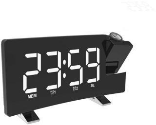 Tidsprojeksjon LED-Vekkerklokke med FM Radio - Hvit