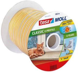 Tesa E-list 55701-00100-00 Tetningstape EPDM, 100 m, 9 mm x 4 mm Hvit