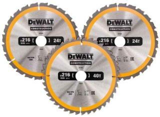 Sagblad for tre DeWalt DT1963 250 mm 2x24T 1x48T 3 stk