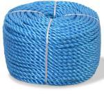 vidaXL Vridd tau polypropylen 6 mm 200 m blå