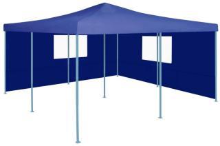 vidaXL Sammenleggbar paviljong med 2 sidevegger 5x5 m blå