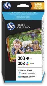 HP Blekkpatron No.303 Sort/3-Farge (2x4ml) & 40stk 10x15cm Fotopapir Z4B62EE (Kan sendes i brev)