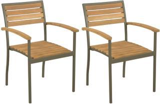vidaXL Stablestoler 2 stk heltre akasie og stål