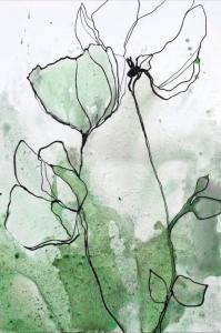Malerifabrikken Poster Flowerline 2 Unisex Grønn