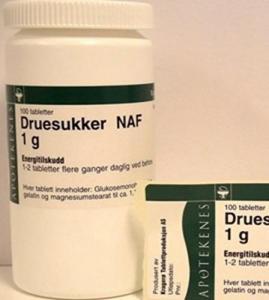 Druesukker NAF tab 1g 100