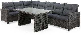 James Loungegruppe Grå/Glass - Bord Sofa Venstre Midtdel