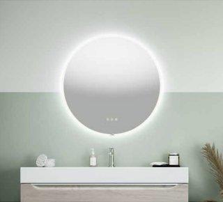 Linn Bad Finden speil m/LED-lysØ60 cm, med dimmer og fargejustering