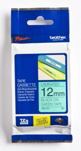 Brother P-Touch Tape Sort på Grønn 12mm (8m) TZE-731 (Kan sendes i brev)