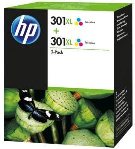 HP Blekkpatron No.301XL 3-farge Høykapasitet 2stk (2x8ml) D8J46AE (Kan sendes i brev)