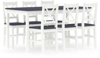 vidaXL Spisestue 7 deler furu hvit og grå
