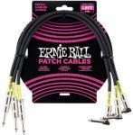 Ernie Ball EB-6076 Patch-kabel 45cm vinkel/rett Sort 3pack