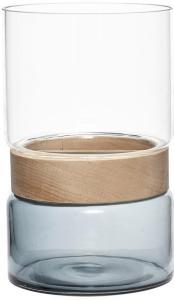 Hübsch Vase Glass Blå / Klar / Tre