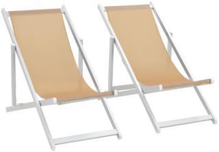 vidaXL Sammenleggbare strandstoler 2 stk aluminium og textilene krem