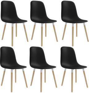 vidaXL Spisestoler 6 stk svart plast