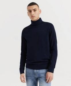 JUNK de LUXE Pologenser Fine Merino Wool Roll Neck Knitted Jumper Blå JUNK de LUXE