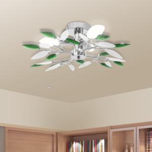 vidaXL Taklampe med Hvit og Grønn Akryl Crystal Armer - 3 E14 Pærer