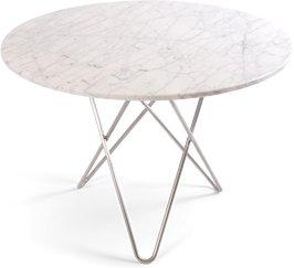 OX DENMARQ Large O Table Hvit Marmor med Rustfri Stålramme Ø100