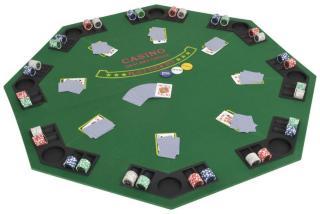 vidaXL Pokerbordplate 8 spillere sammenleggbar 2 delt åttekantet grønn