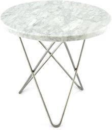 OX DENMARQ Mini O Table Matt Hvit Marmor med Rustfri Stålramme Ø40