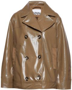 Ganni Patent Over D Jacket Skinnjakke Brun Ganni Women