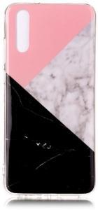 TPU Deksel for Huawei P20 - Rosa/Svart Marmor