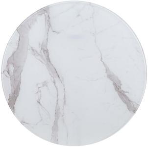 Bordplate hvit Ø80 cm glass med marmortekstur - Hvit