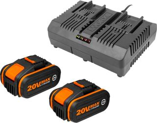 Worx 2x WA3553 20V 4.0Ah batteri + WA3883 opplader