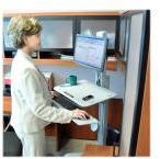 Ergotron WorkFit-C Single LD Sit-Stand Workstation - Sitte-/ståpult - mobil - kontor - rektangulær med avrundet ende - grå