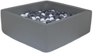 knorr® leker ballbad mykt - mørk grå firkant inkludert 100 baller grå / hvit