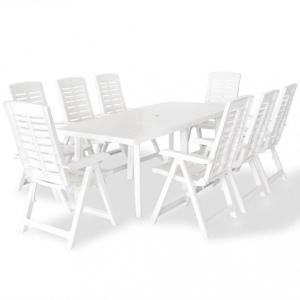 Utendørs spisestue 9 deler plast hvit