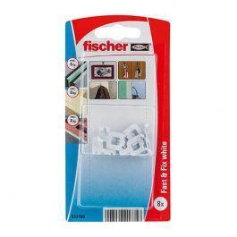 Veggkrok Fischer Fast & Fix 8 stk, hvit